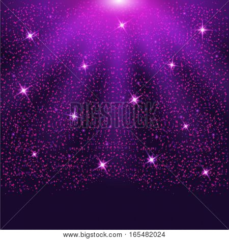 Falling sparkling purple particles and stars. Confetti Glitters. Vector illustration