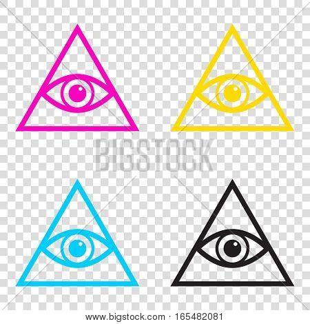 All Seeing Eye Pyramid Symbol. Freemason And Spiritual. Cmyk Ico