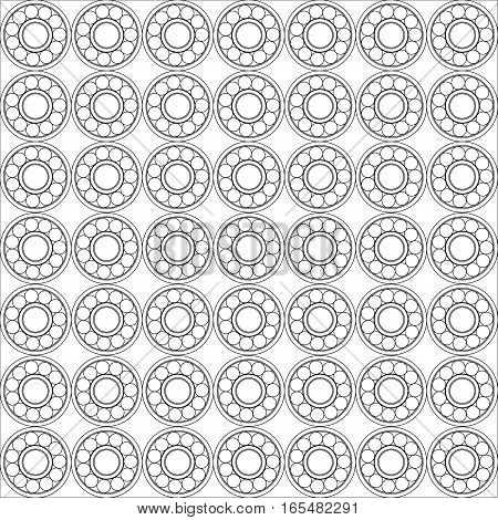 Seamless pattern of Ball bearing vector. illustration of abstract web design with copy space in cog wheel