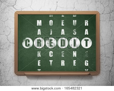 Business concept: Painted White word Credit in solving Crossword Puzzle on School board background, 3D Rendering