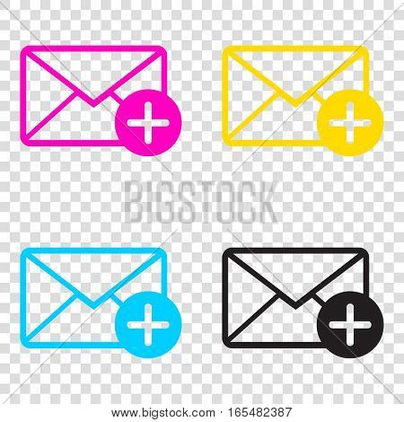 Mail Sign Illustration With Add Mark. Cmyk Icons On Transparent