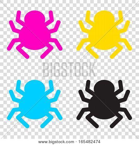 Spider Sign Illustration. Cmyk Icons On Transparent Background.