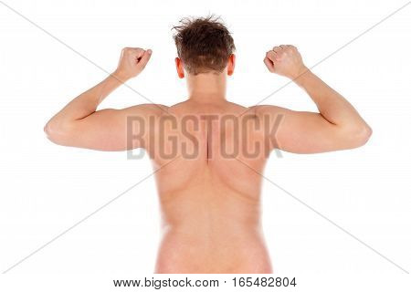 Picture of a young man's naked back on an isolated background