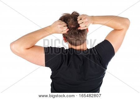 Picture of a furious young man - isolated background