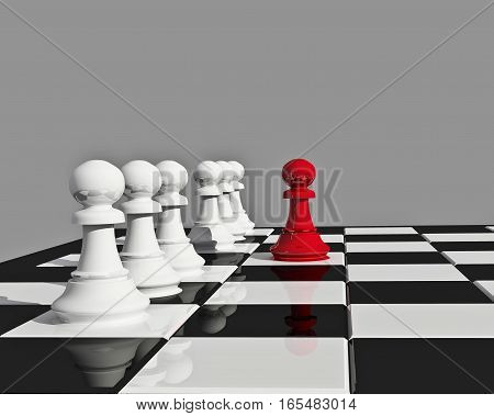 3d Illustration with chess board and seven pieces of chess isolated on grey