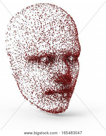 3d illustration head created from red particles isolated