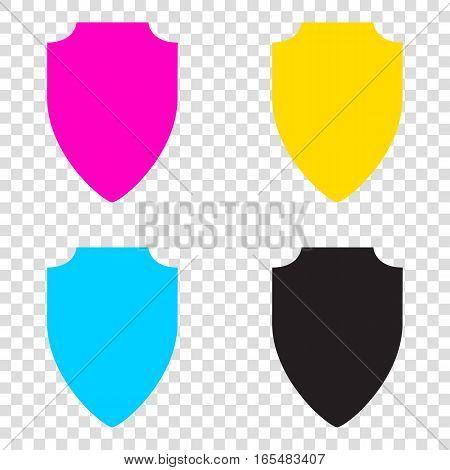 Shield Sign Illustration. Cmyk Icons On Transparent Background.