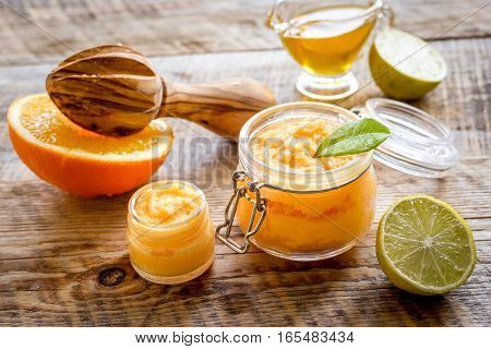 organic citrus scrub homemade on wooden background.