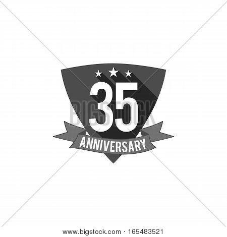 35 years Anniversary badge, sign and emblem. Flat design. Easy to edit and use your number, text. Vector illustration isolate on white background. Monochrome