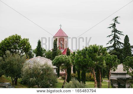 The beautiful church in Georgia. Nature beautiful