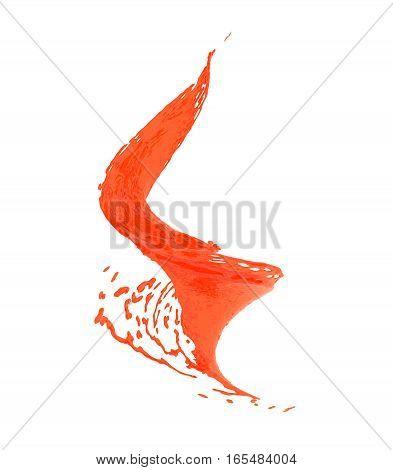 3d illustration spiral of orange splash isolated on white
