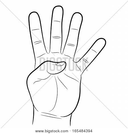 hand showing four fingers on white background of vector illustrations