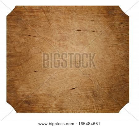 A wooden surface isolated on a white background.