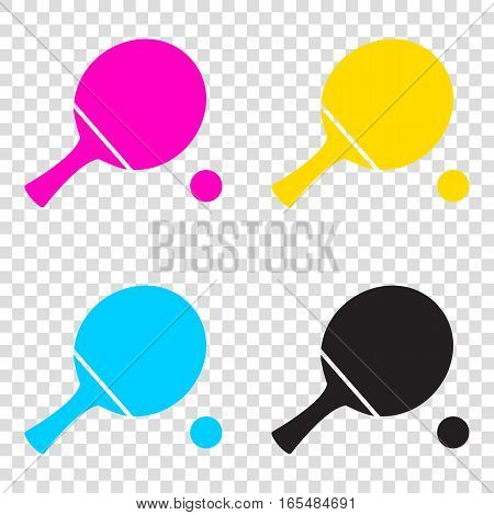 Ping Pong Paddle With Ball. Cmyk Icons On Transparent Background