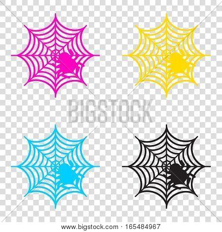 Spider On Web Illustration Cmyk Icons On Transparent Background.