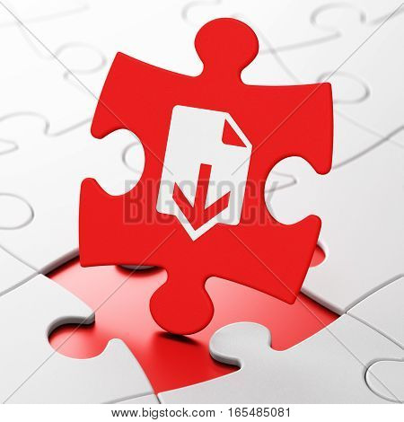 Web design concept: Download on Red puzzle pieces background, 3D rendering
