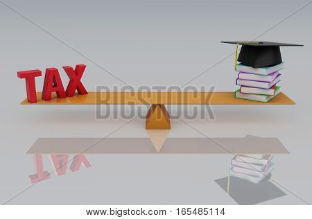 Tax Concept with Books - 3D Rendered Image