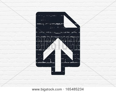 Web development concept: Painted black Upload icon on White Brick wall background
