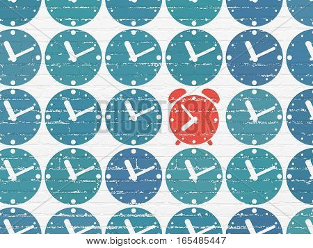 Timeline concept: rows of Painted blue clock icons around red alarm clock icon on White Brick wall background