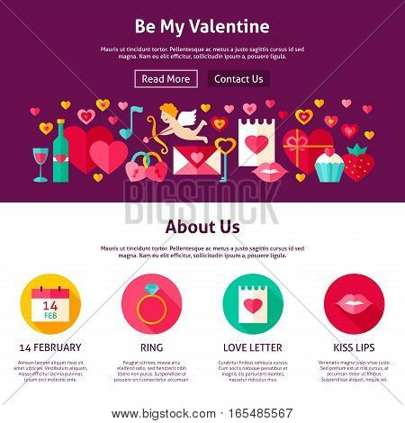 Web Design Be My Valentine. Flat Style Vector Illustration for Website Banner and Landing Page. Love Holiday.