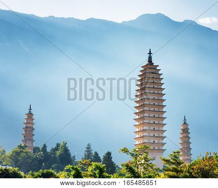 The Three Pagodas Of Chongsheng Temple, Dali, China