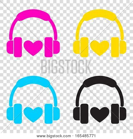 Headphones With Heart. Cmyk Icons On Transparent Background. Cya