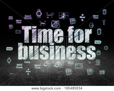 Time concept: Glowing text Time for Business,  Hand Drawing Time Icons in grunge dark room with Dirty Floor, black background
