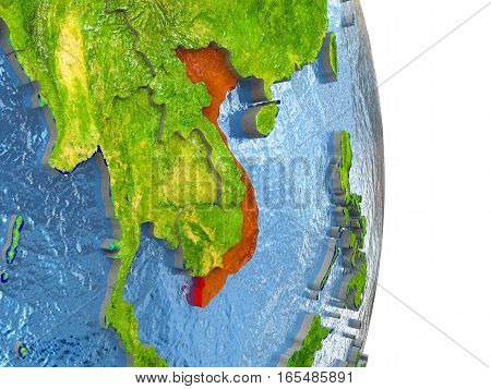 Vietnam In Red On Earth
