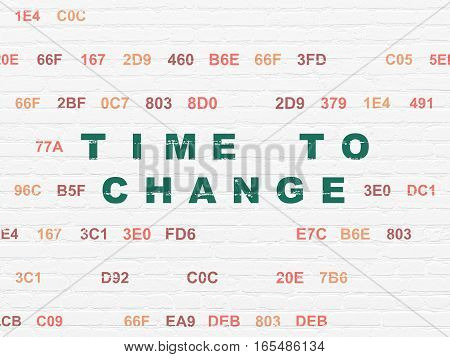 Timeline concept: Painted green text Time to Change on White Brick wall background with Hexadecimal Code