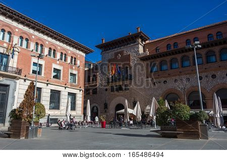 Teruel, Spain - December 30, 2016: San Juan square in medieval city Teruel Aragon