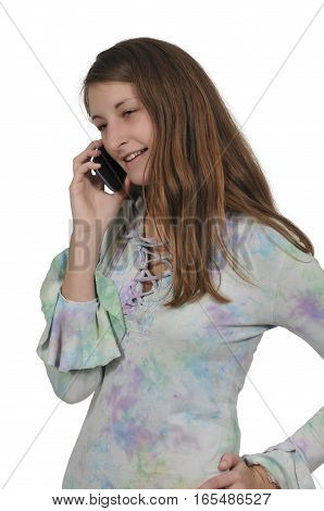 Beautiful woman talking on a cell phone