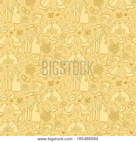 Sweet wedding pattern in pastel colors in vector. Hand drawn seamless pattern with young couple going to marry. Can be used for decoration of wedding ceremony, textile, wrapping, guest cards or invitation