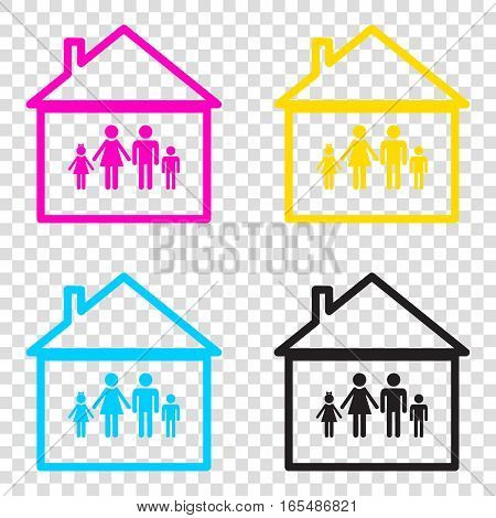Family Sign Illustration. Cmyk Icons On Transparent Background.