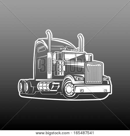 cool Truck black and white illustration vector