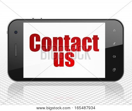 Marketing concept: Smartphone with red text Contact Us on display, 3D rendering