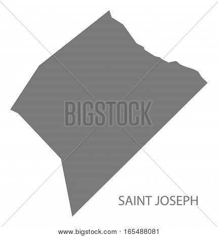 Saint Joseph Barbados Map in grey illustration silhouette