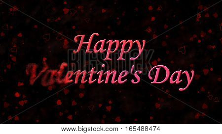 Happy Valentine's Day Text Turns To Dust From Left On Dark Backg