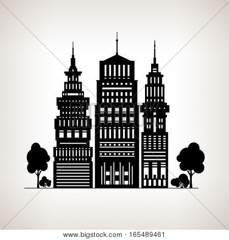 Silhouette Modern Big City with Buildings and Skyscraper ,Architecture Megapolis, City Financial Center on a Light Background, Black and White Illustration