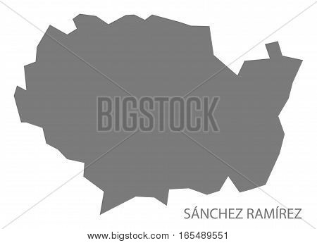 Sanchez Ramirez Dominican Republic Map Grey