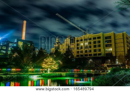 River and lights and buildings on the riverwalk.