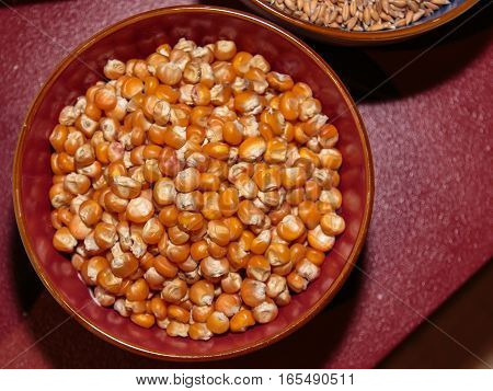 Raw Grains Of Corn Inside Bowl