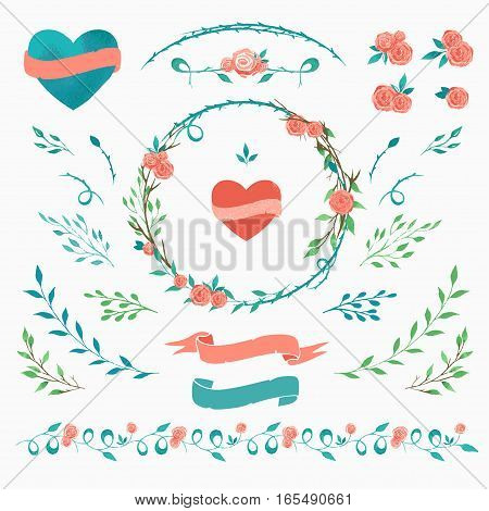 set of floral elements for Valentine day design vector watercolor floral elements
