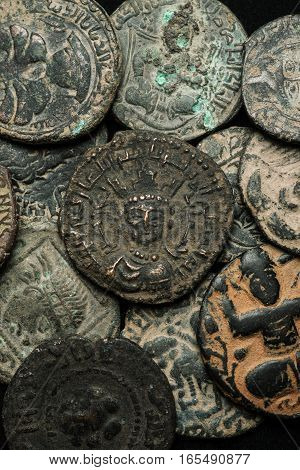 Pile Of Ancient Islamic Bronze Coins Close-up Shot