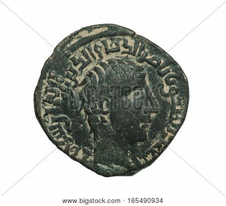 Ancient Bronze Islamic Coin With Portrait Isolated On White