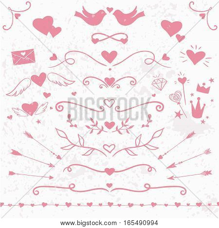 Valentine' Day collection: hearts, flourishes, decorative elements vector design elements