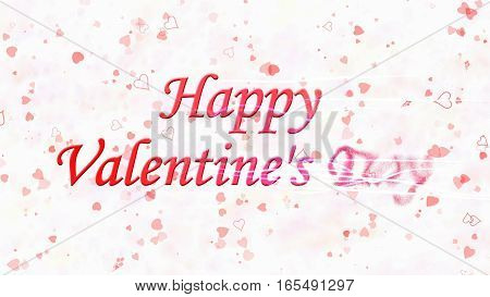 Happy Valentine's Day Text Turns To Dust From Right On Light Background