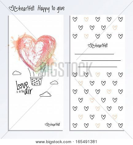 Valentine Day greeting card vector. Valentines card with heart and place for a congratulation.