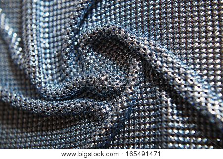 Chainlink fabric silver - shiny texture, creases and folds, texture