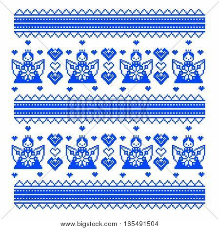 Ethnic Ukraine pattern. Ornament cross stitch. style Valentine s Day. Angels and hearts. vector illustration