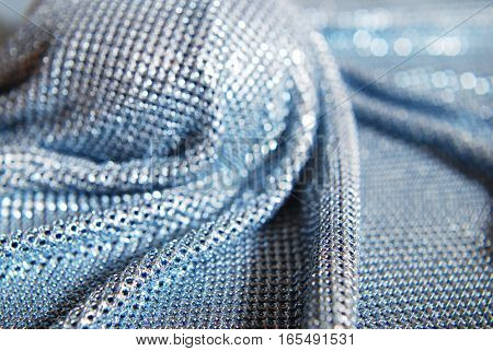 Chainlink fabric Silver - shiny texture, soft folds